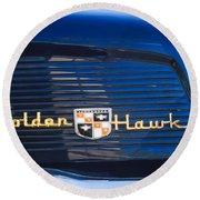 1957 Studebaker Golden Hawk Supercharged Sports Coupe Emblem Round Beach Towel