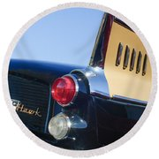 1957 Studebaker Golden Hawk Supercharged Sports Coupe Taillight Emblem Round Beach Towel