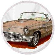 1957 Thunderbird Round Beach Towel