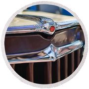 1957 Willys Wagon Grille Round Beach Towel