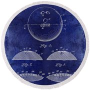 1958 Bowling Patent Drawing Blue Round Beach Towel
