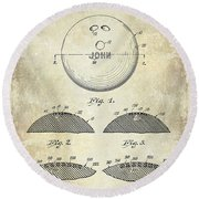 1958 Bowling Patent Drawing Round Beach Towel