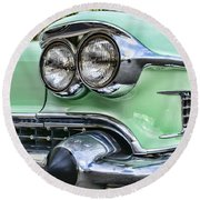 1958 Cadillac Headlights Round Beach Towel