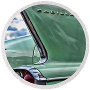 1958 Cadillac It's All In The Fin. Round Beach Towel