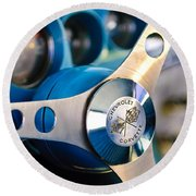 1958 Chevrolet Corvette Steering Wheel Round Beach Towel