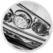1958 Chevrolet Impala Taillight -0289bw Round Beach Towel