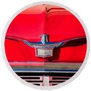 1958 Chrysler Imperial Crown Convertible Emblem Round Beach Towel