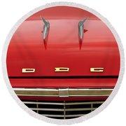 1958 Dodge Coronet Super D-500 Convertible Hood Ornament Round Beach Towel by Jill Reger