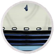 1958 Dodge Sweptside Truck Grille Round Beach Towel