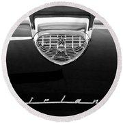 1958 Ford Fairlane 500 Victoria Hood Emblem Round Beach Towel by Jill Reger