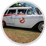 1958 Ford Suburban Ghostbusters Car Round Beach Towel