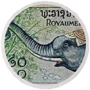 1958 Laos Elephant Stamp II Round Beach Towel