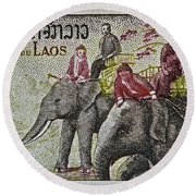 1958 Laos Elephant Stamp IIi Round Beach Towel