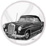 1958 Mercedes Benz 220s Round Beach Towel