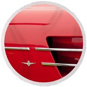 1958 Pegaso Z-103 Touring Berlinetta Side Emblem -1195c Round Beach Towel