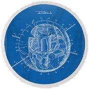 1958 Space Satellite Structure Patent Blueprint Round Beach Towel