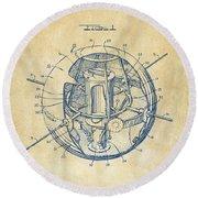 1958 Space Satellite Structure Patent Vintage Round Beach Towel