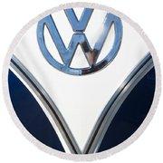 1958 Volkswagen Vw Bus Emblem Round Beach Towel