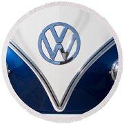 1958 Volkswagen Vw Bus Hood Emblem Round Beach Towel