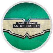1959 Aston Martin Db4 Gt Hood Emblem -0127c Round Beach Towel