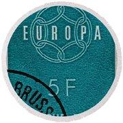 1959 Belgium Stamp - Brussels Cancelled Round Beach Towel
