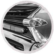 1959 Cadillac Eldorado Taillight -097bw Round Beach Towel