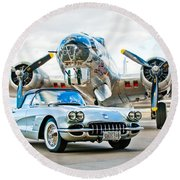 1959 Chevrolet Corvette Round Beach Towel
