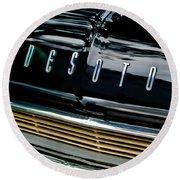 1959 Desoto Adventurer Hood Emblem Round Beach Towel by Jill Reger