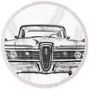 1959 Edsel Ford Ranger Illustration Round Beach Towel