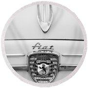1959 Fiat 600 Derivazione 750 Abarth Hood Ornament - Emblem Round Beach Towel