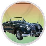 1959 Jaguar 150 S S Drop Head Coupe Round Beach Towel