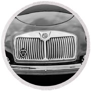 1959 Mg A 1600 Roadster Front End -0055bw Round Beach Towel