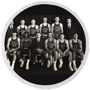 1959 University Of Michigan Basketball Team Photo Round Beach Towel