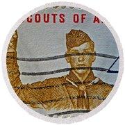 1960 Boy Scouts Stamp Round Beach Towel