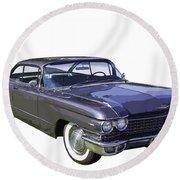 1960 Cadillac - Classic Luxury Car Round Beach Towel