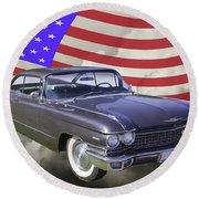 1960 Cadillac Luxury Car And American Flag Round Beach Towel