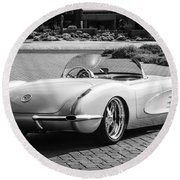 1960 Chevrolet Corvette -0880bw Round Beach Towel