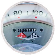 1960 Chevrolet Corvette Speedometer Round Beach Towel by Jill Reger