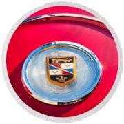 1960 Chrysler Imperial Crown Convertible Emblem Round Beach Towel