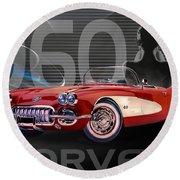 1960 Corvette Round Beach Towel