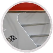 1960 Corvette Emblem And Side Moulding Round Beach Towel