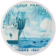 1960 Day Stamp Installation Of A Submarine Cable Round Beach Towel
