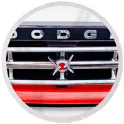 1960 Dodge Truck Grille Emblem Round Beach Towel