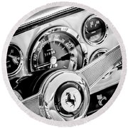 1960 Ferrari 250 Gt Cabriolet Pininfarina Series II Steering Wheel Emblem -1319bw Round Beach Towel