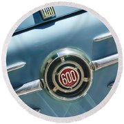 1960 Fiat 600 Jolly Emblem Round Beach Towel