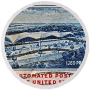 1960 First Automated Post Office Stamp Providence Rhode Island Round Beach Towel