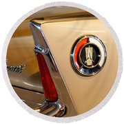 1960 Plymouth Fury Convertible Taillight And Emblem Round Beach Towel
