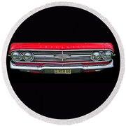 1960 Red Chevy Round Beach Towel