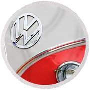 1960 Volkswagen Vw 23 Window Microbus Emblem Round Beach Towel by Jill Reger