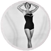1960s Bathing Suit Design Round Beach Towel